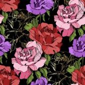 rosa, rote und lila Rosenblüten. Tuschebilder. nahtlose Hintergrundmuster. Stofftapete Druck Textur auf schwarzem Hintergrund.