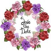 Vektor růže květinový věnec. Růžové, červené a fialové květy růže vyryto inkoust umění. Ukládat data rukopis monogram kaligrafie
