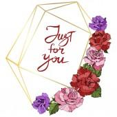 Fotografia Vettore. Fiori di rosa e cornice in cristallo dorato. Rosa, rosso e viola inciso inchiostro arte. Forma di poliedro di cristallo geometrico su fondo bianco. Solo per voi iscrizione