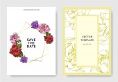 Photo Beautiful rose flowers on cards. Wedding cards with floral decorative borders. Thank you, rsvp, invitation elegant cards illustration graphic set. Engraved ink art.