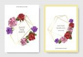 Szép Rózsa virágok a kártyákat. Esküvői meghívók-virágos dekoratív határok. Köszönöm, rsvp, pályázati elegáns kártya illusztráció grafikai készlet. Vésett tinta art.