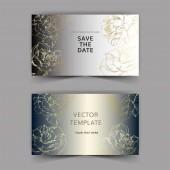 Vektor. Zlaté květy růže na stříbrné karty. Svatební oznámení s květinovou dekorativní hranice. Díky, rsvp, pozvání elegantní karty ilustrace grafický soubor. Ryté inkoust umění.