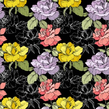 Pink, yellow and purple roses. Engraved ink art. Seamless background pattern. Fabric wallpaper print texture on black background. stock vector
