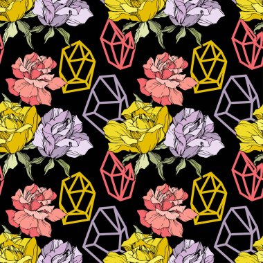 Pink, yellow and purple roses. Engraved ink art. Seamless background pattern. Fabric wallpaper print texture on black background. clip art vector