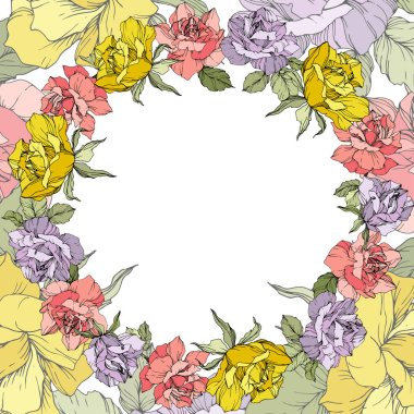 Vector. Rose flowers floral wreath on white background. Yellow, purple and pink roses engraved ink art. clip art vector