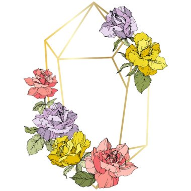 Vector. Rose flowers and golden crystal frame. Pink, yellow and purple roses engraved ink art. Geometric crystal polyhedron shape on white background. clip art vector