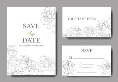 Vector. Silver rose flowers on white cards. Wedding cards with floral decorative borders. Thank you, rsvp, invitation elegant cards illustration graphic set. Engraved ink art. stock vector