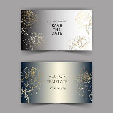 Vector. Golden rose flowers on silver cards. Wedding cards with floral decorative borders. Thank you, rsvp, invitation elegant cards illustration graphic set. Engraved ink art. stock vector