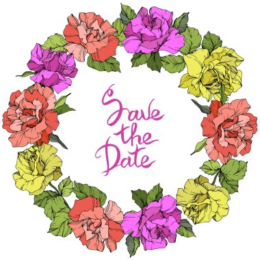 Vector. Roses floral wreath. Purple, yellow and coral rose flowers engraved ink art. Save the Date handwriting monogram calligraphy. stock vector