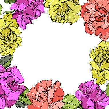 Vector. Roses floral wreath. Purple, yellow and coral rose flowers. Engraved ink art on white background. clip art vector