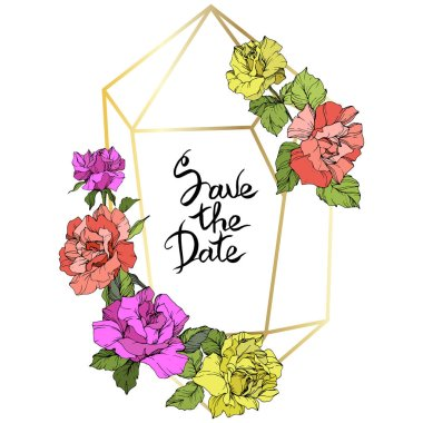 Vector Rose flowers and golden crystal frame. Coral, yellow and purple engraved ink art. Geometric crystal polyhedron shape on white background. Save the Date handwriting monogram calligraphy. clip art vector