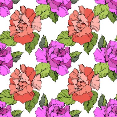 Coral and purple roses. Engraved ink art. Seamless background pattern. Fabric wallpaper print texture on black background. clip art vector