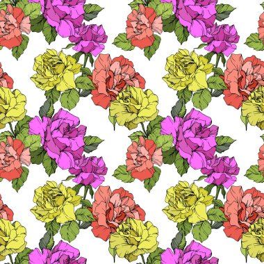 Beautiful coral, yellow and purple roses. Engraved ink art. Seamless background pattern. Fabric wallpaper print texture on white background. clip art vector