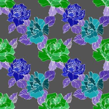 Vektör. Yeşil ve mavi gül çiçekler. Oyulmuş mürekkep sanat. Sorunsuz arka plan deseni. Kumaş duvar kağıdı yazdırma doku gri arka plan üzerinde.