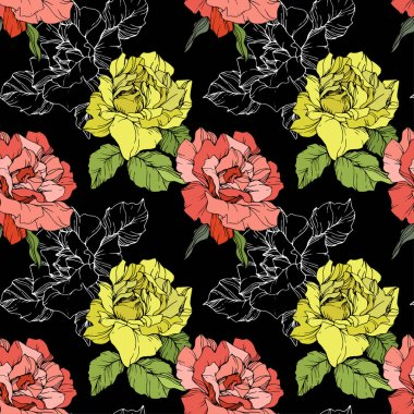 Coral and yellow roses. Engraved ink art. Seamless background pattern. Fabric wallpaper print texture on black background. stock vector