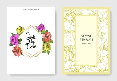 Vector. Coral, yellow and purple rose flowers on cards. Wedding cards with floral decorative borders. Thank you, rsvp, invitation elegant cards illustration graphic set. Engraved ink art. stock vector