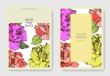 Vector. Coral, yellow and purple rose flowers on cards. Wedding cards with floral decorative borders. Thank you, rsvp, invitation elegant cards illustration graphic set. Engraved ink art. clip art vector