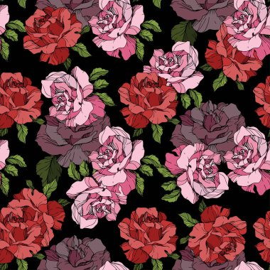 Pink and red rose flowers. Engraved ink art. Seamless background pattern. Fabric wallpaper print texture on black background. stock vector