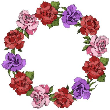 Vector. Rose flowers floral wreath on white background. Red, purple and pink roses engraved ink art.