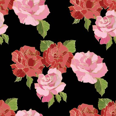 Pink and red rose flowers. Engraved ink art. Seamless background pattern. Fabric wallpaper print texture on black background. clip art vector