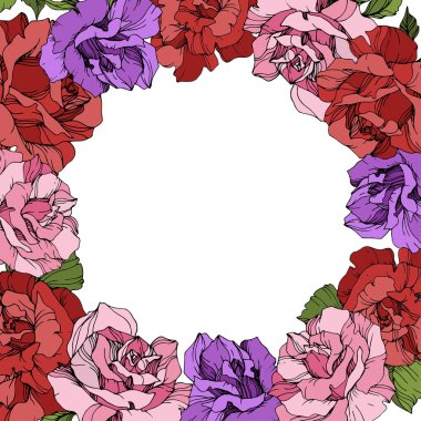 Vector. Rose flowers floral wreath on white background. Red, purple and pink roses engraved ink art. stock vector