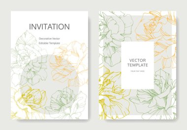 Vector rose flowers. Wedding cards with floral borders. Thank you, rsvp, invitation elegant cards illustration graphic set. clip art vector