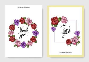 Beautiful rose flowers on cards. Wedding cards with floral decorative borders. Thank you, rsvp, invitation elegant cards illustration graphic set. Engraved ink art. stock vector