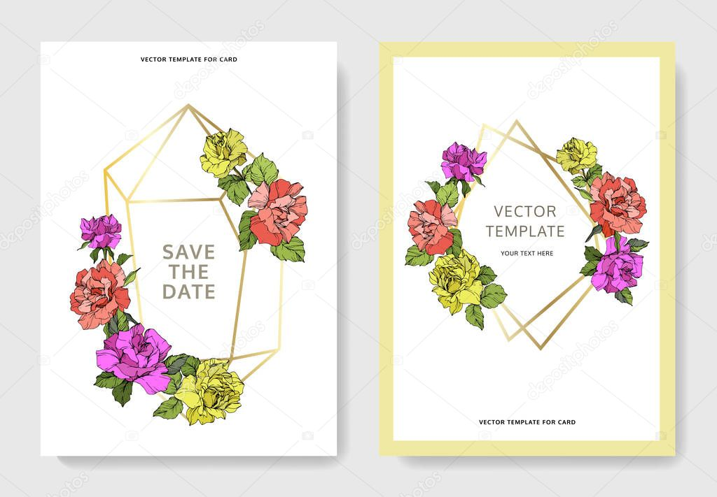 Vector. Coral, yellow and purple rose flowers on cards. Wedding cards with floral decorative borders. Thank you, rsvp, invitation elegant cards illustration graphic set. Engraved ink art.