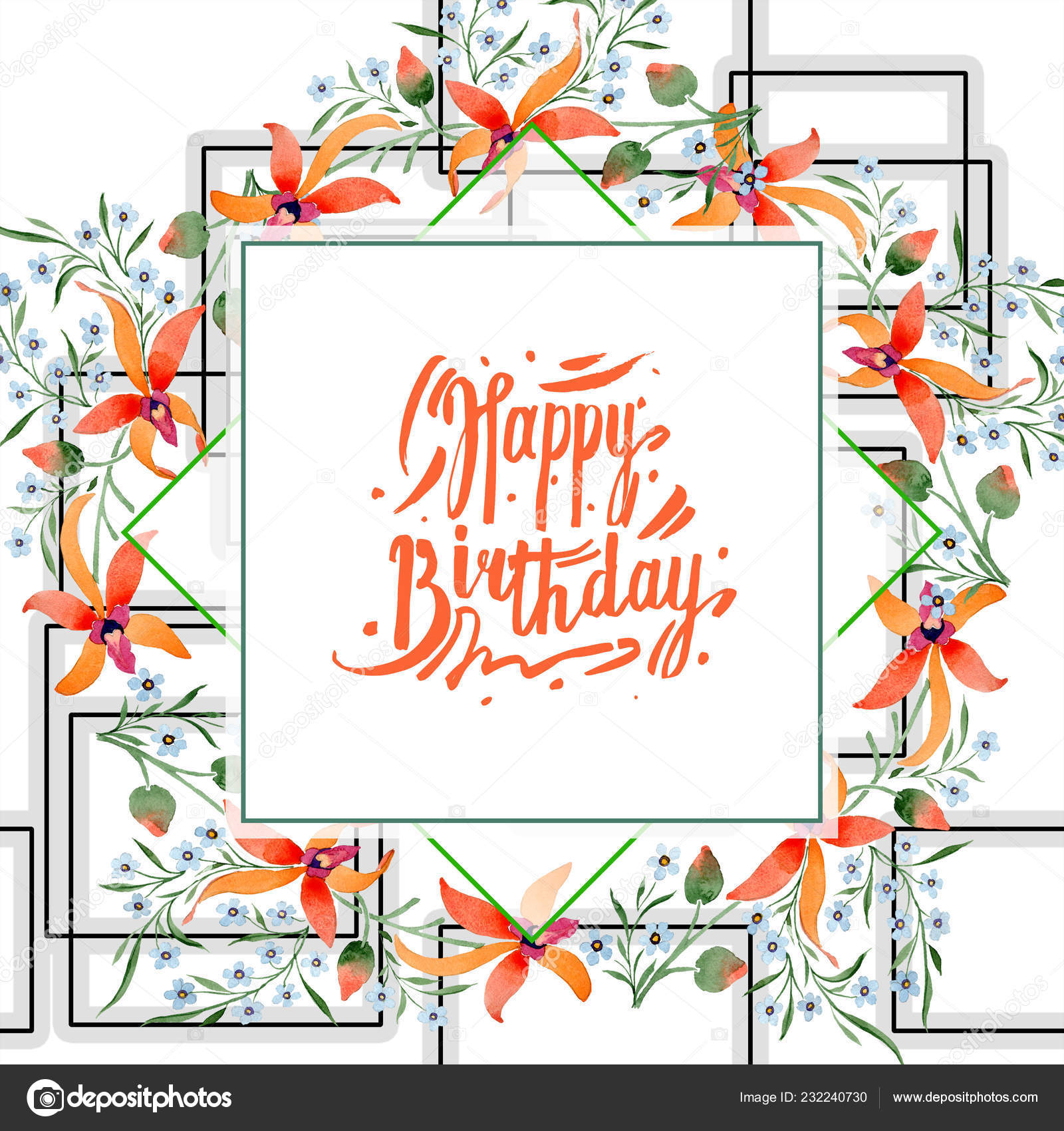 Happy Birthday Greeting Card Blue Orange Flowers Watercolour Drawing Background Stock Photo