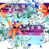 Kék és narancssárga virágok. Akvarell, rajz háttér orchideák és Nefelejcs nincstelenek.