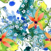 Fotografie Blue and orange flowers. Watercolour drawing of background with orchids and forget me nots.