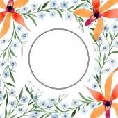 blaue und orangefarbene Blüten als Kreisrahmen. Aquarellzeichnung des Hintergrundes mit Orchideen und Vergissmeinnicht.
