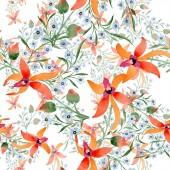 Fotografia Fiori blu e arancioni. Acquerello disegno di sfondo con orchidee e dimenticare me nots
