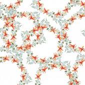 Fotografie Modré a oranžové květy. Akvarel, kresba pozadí s orchidejemi a zapomenout uzlů
