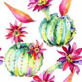 Fotografie Green cacti with pink flowers. Watercolor seamless background pattern.