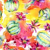 Zelená kaktusy s růžovými květy. Akvarelu bezešvé pozadí vzorek