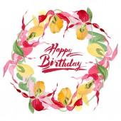 Lady slipper orchideák akvarell képkeret illusztráció elszigetelt fehér, boldog születésnapot felirat