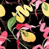 Lady slipper orchideák ecsetvonásokkal akvarell illusztráció a fekete háttér, a varratmentes háttérben minta