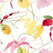 Lady slipper orchideák ecsetvonásokkal akvarell illusztráció, fehér háttér, varratmentes háttérben minta