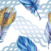 Barevné peří s abstraktní vzorem na bílém pozadí. Vzor bezešvé pozadí. Fabric tapety tisku textura.