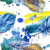 Barevné peří s abstraktní malby se rozlije. Vzor bezešvé pozadí. Fabric tapety tisku textura