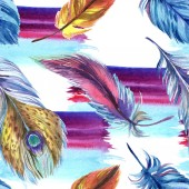 Colorful feathers with abstract paint brushstrokes. Seamless background pattern. Fabric wallpaper print texture.