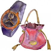 Photo Trendy isolated accessories illustration set in watercolor style