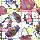 Mode-Accessoires-Illustration im Aquarell-Stil. Nahtlose Hintergrundmuster. Stoff Tapete drucken.