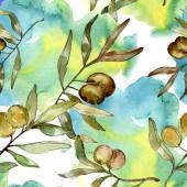 Grüne Oliven Aquarell Hintergrund Illustration festgelegt. Aquarell Zeichnung Aquarell. Nahtlose Hintergrundmuster. Stoff Tapete drucken.