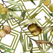 Photo Green olives watercolor background illustration set. Watercolour drawing aquarelle. Seamless background pattern. Fabric wallpaper print texture.