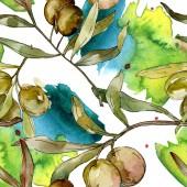 Zelené olivy akvarel pozadí obrázku nachází. Akvarel výkresu aquarelle. Vzor bezešvé pozadí. Fabric tapety tisku textura.