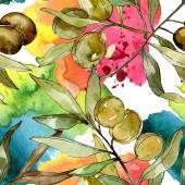 Zöld olajbogyó akvarell háttér illusztráció beállítása. Akvarell, rajz aquarelle. Varratmentes háttérben minta. Anyagot a nyomtatási textúrát.