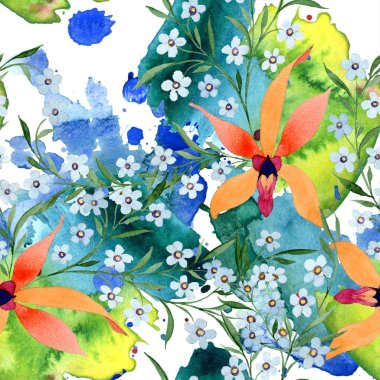Blue and orange flowers. Watercolour drawing of background with orchids and forget me nots. stock vector