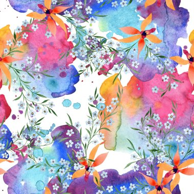 Blue and orange flowers. Watercolour drawing of background with orchids and forget me nots.